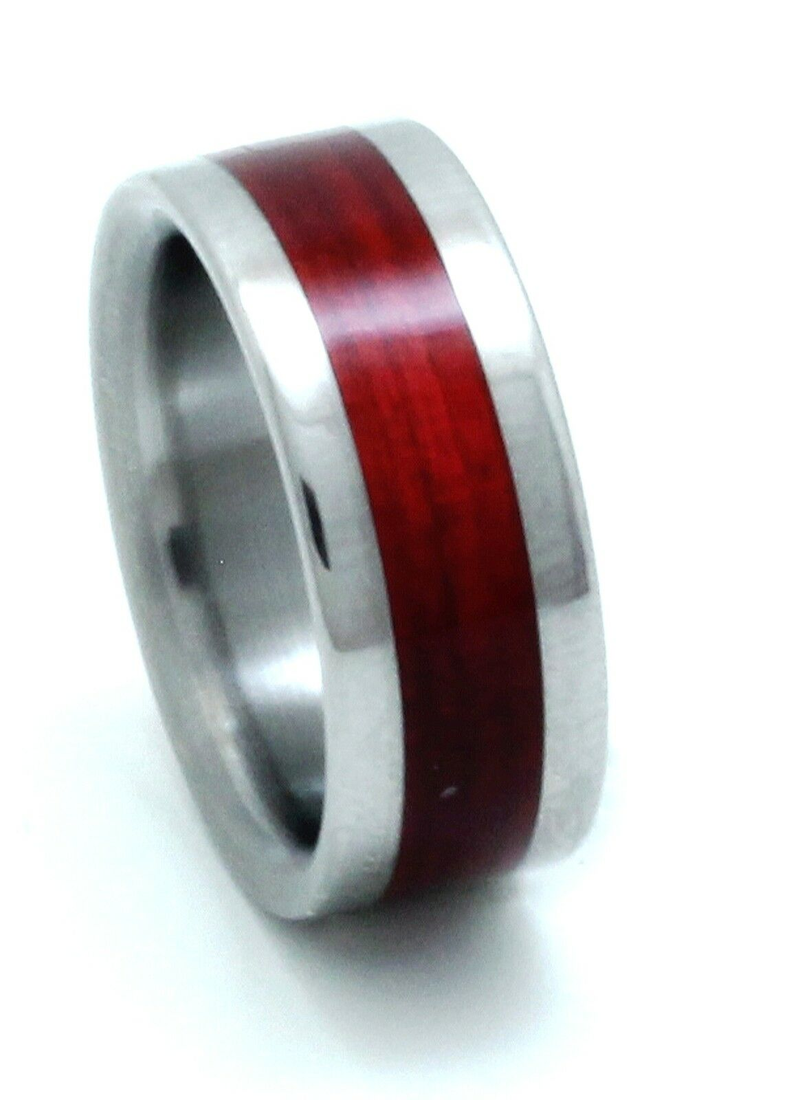 Titanium Ring With Red Heart Wood Inlay - FREE Ring Box