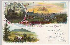 (109669) Künstler AK Gruß aus Görlitz, Restauration Landeskrone, Golddruck 1900