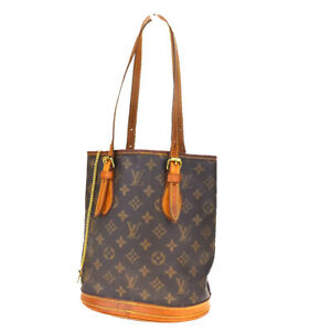 Auth-LOUIS-VUITTON-BUCKET-PM-Shoulder-Bag-Monogram-Leather-Brown-M42238-64MF221