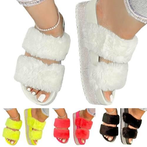 Womens Slip On Slippers Slider Fluffy Flat Sandals Glitter Mules Summer Shoes UK