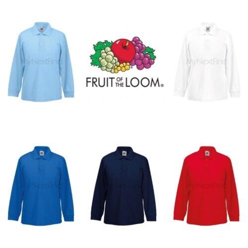Fruit of the Loom Boys Girls Long Sleeve 65//35 Polo Shirt