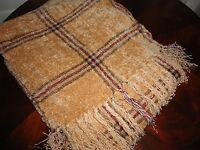 Mervyn's Tan Maroon Taupe Plaid Chenille Soft Fringed Throw Blanket 50 X 70