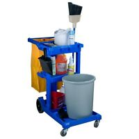 Janitor Housekeeping Cleaning Cart - 25-gallon Bag W/ 3 Shelves