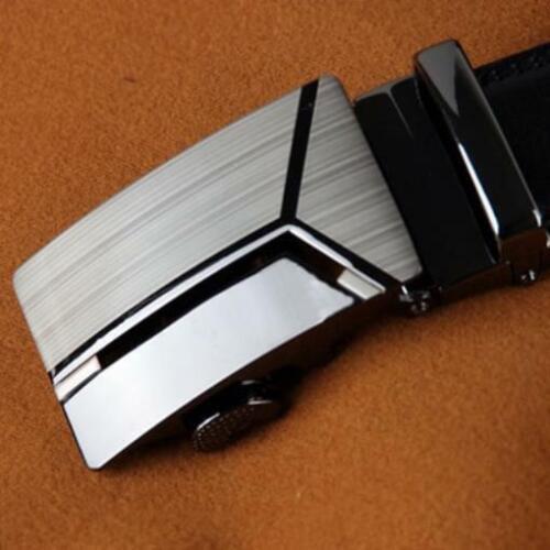 Cinturones De Cuero Negro Con Acero Para Hombres Moda De LUJO Hebilla Automática