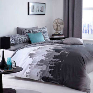 Catherine-Lansfield-City-Scape-Black-Grey-New-York-Duvet-Quilt-Cover-Bedding-Set