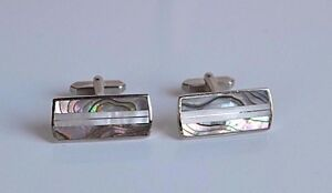 Vintage Cufflinks Gray Mother of Pearl Abalone FIIC Signed Angled Cuff Links