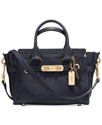 NWT COACH Pebble Leather Mini Swagger 20 Crossbody Handbag NAVY Gold 36235 $350