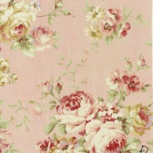 32-034-Remnant-Cottage-Shabby-Chic-Lecien-Durham-Quilt-Roses-Pink-Floral-Fabric