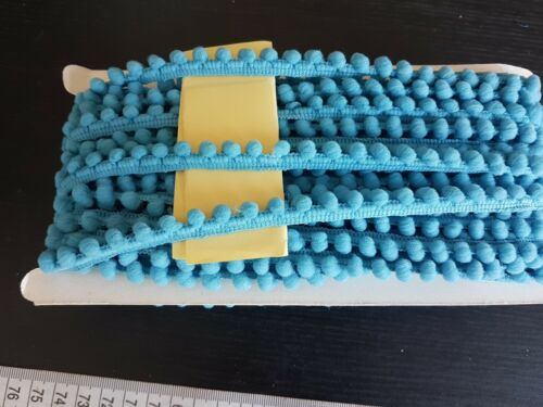 1m Pearl POM POM BOBBLE TRIM 10mm trim fringe tassel blue