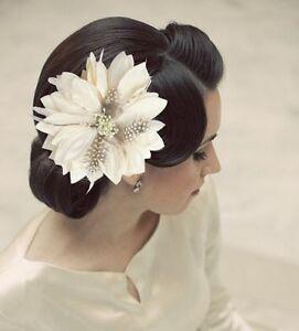 67 big silky cream white bridal hair flower clip feathers brooch image is loading 6 7 034 big silky cream white bridal mightylinksfo