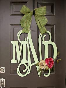 Image Is Loading Wooden MONOGRAM Door Hanger Wreath Custom Initial Burlap