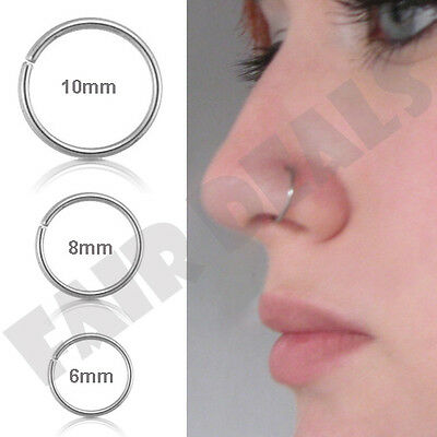 Small Thin 6mm 8mm 10mm Eyebrow Nose Ear Steel Silver Stud Hoop