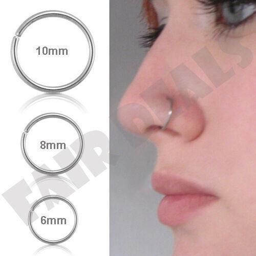 Small Thin 6mm 8mm 10mm Eyebrow Nose Ear Steel Silver Stud Hoop Piercing Ring