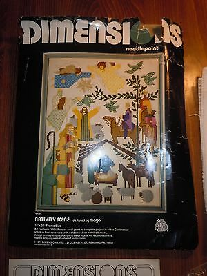 Vintage 1977 Needlepoint Kit Dimensions 2070 Nativity Scene Mayo Persian Wool NW