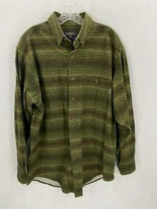 Woolrich-Mens-L-Thick-Green-Plaid-Flannel-Button-Front-Shirt-Long-Sleeve