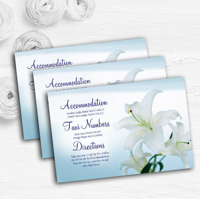 Weiß Blau Lily Flower Personalised Wedding Guest Information Cards