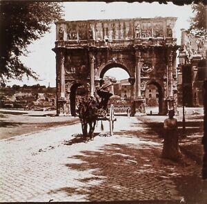 Roma Arco Di Constantin Italia Foto Stereo PL59L Placca Da Lente Vintage c1900