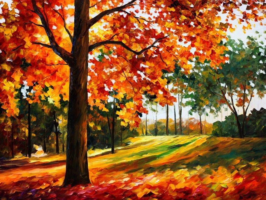 3D Gemälde Herbstbaum Fototapeten Wandbild Fototapete Bild Tapete Familie Kinder