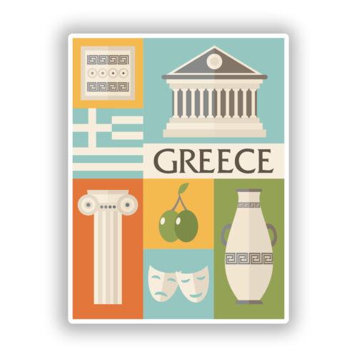 2 x Greece Vinyl Stickers Travel Luggage #10774