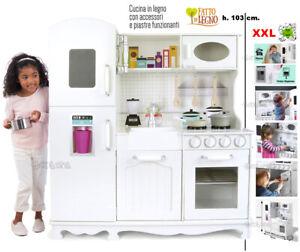 Cucina Giocattolo Per Bambini In Legno Grande Frigo E Accessori Ebay