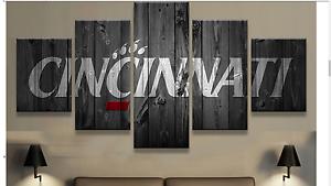 Image Is Loading Large Framed Cincinnati  Bearcats College Barnwood Style Canvas