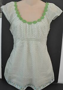 SOPHIE-MAX-Green-and-White-Blouse-Top-Shirt-Sz-S-Double-Layered