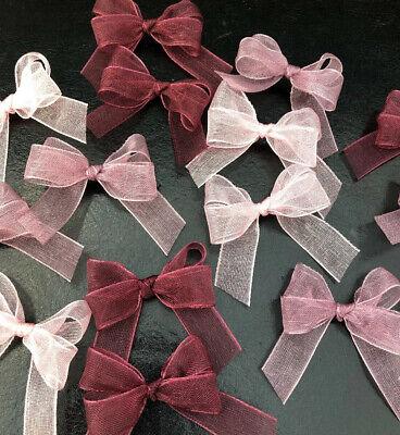 15 Small 3cm Blush Pink Organza Ribbon Bows// Card Making//Baby