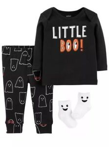 Carters-Baby-Boy-6M-Halloween-3-Pc-Outfit-Bodysuit-Pants-Socks-LITTLE-BOO-Ghost