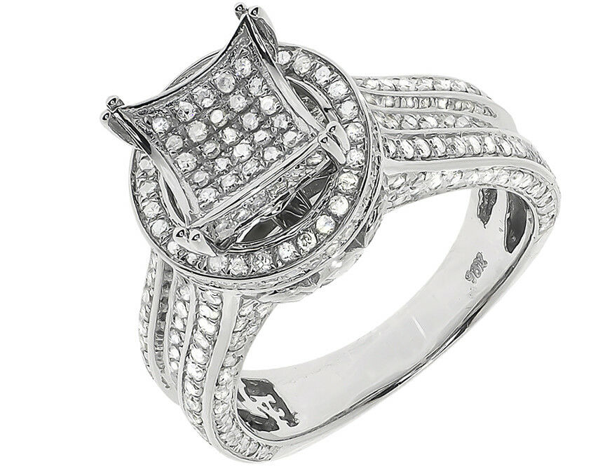 10k White gold Ladies Round Pave Diamond Halo 3D Engagement Wedding Ring 1.50 ct