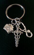Doctor  keyring bag clip Dr's bag stethoscope cadeceus gift appreciation thanks