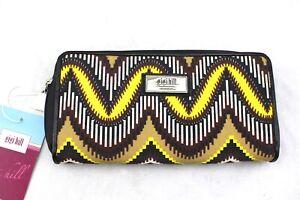 GIGI-HILL-Yellow-Tan-Black-Ikat-Print-Canvas-Clutch-Wallet-NWT