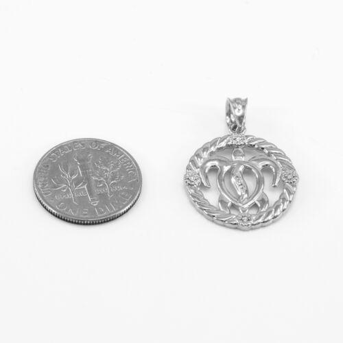 14k White Gold Rope Open Circle 5 Diamonds Hawaiian Honu Turtle Pendant Necklace