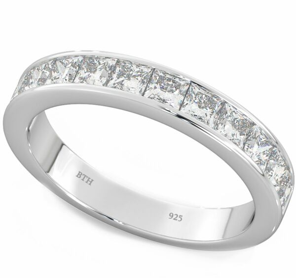 925 Sterling Silver Ladies Channel Set Eternity Wedding Engagement Band Ring Diversifiziert In Der Verpackung