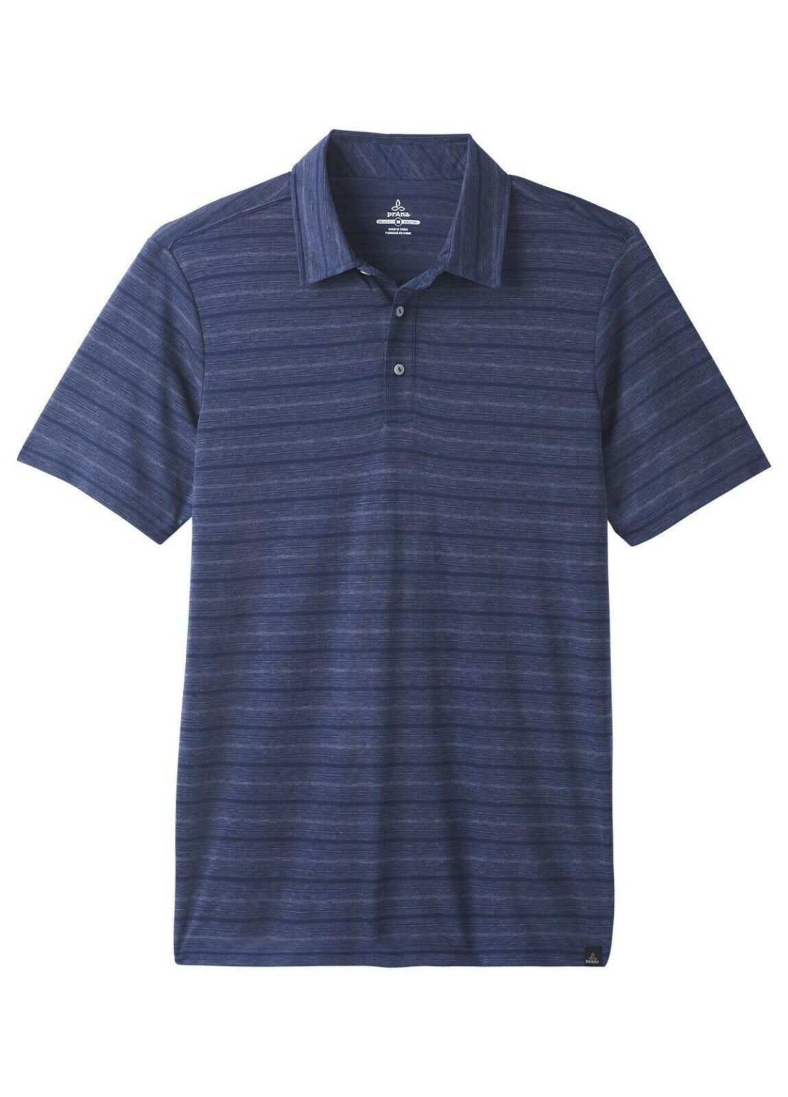 Prana Neriah Shirt Short Sleeve Polo  leichtes Herren Polo-Shirt  Blau a stripe
