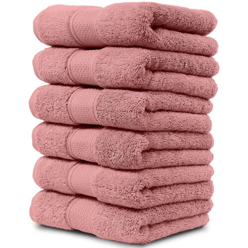 """Luxury Cotton Hand Towel Set Bathroom Kitchen Soft Woven Terry 16/""""x30/"""" Pack of 6"""