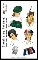 Fabric Sewing Pattern 1940's Simplicity 3651 Millinery Cap Hats & Bag 23 Beret