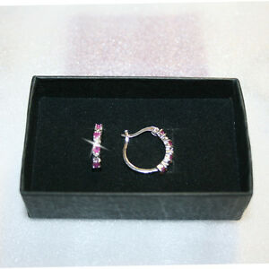 Natural-Round-Red-Ruby-Diamond-Hoop-Earrings-18mm-14k-White-Gold-over-925-SS