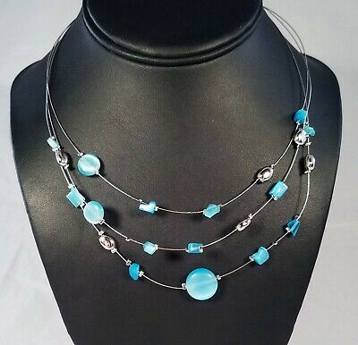 Multistrand Blue// Teal Glass Bead Collar Style Necklace In Silver Tone Metal 4