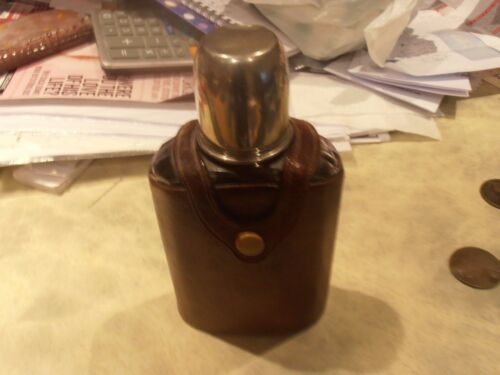 1930s Cross of London Hunting Leather Cased Hip Flask with Glass Stopper