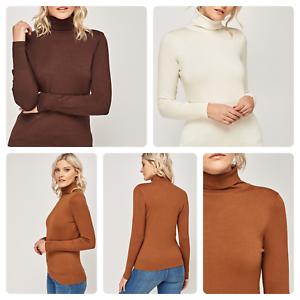 Donna-Da-Donna-Alta-Qualita-Dolcevita-lavorato-a-maglia-maglione-manica-lunga-Tops