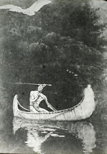 ANTIQUE PHOTO OF PAINTING ON GLASS. NATIVE AMERICAN IN CANOE.
