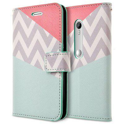 RANZ® Motorola Moto G3 PU Leather Folio Flip Book Wallet Pouch Case Cover