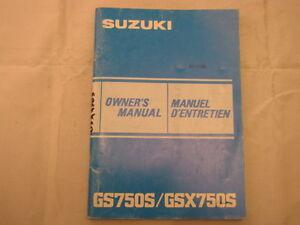 SUZUKI-GS750-GS750S-GSX750-GSX750S-1984-OWNERS-MANUAL-MANUEL-DU-PROPRIETAIRE