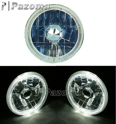 5-3/4 HALO HALOGEN H4 BULB HEADLIGHT BLUE ANGEL EYE LED Fits: Harley Motorcycle