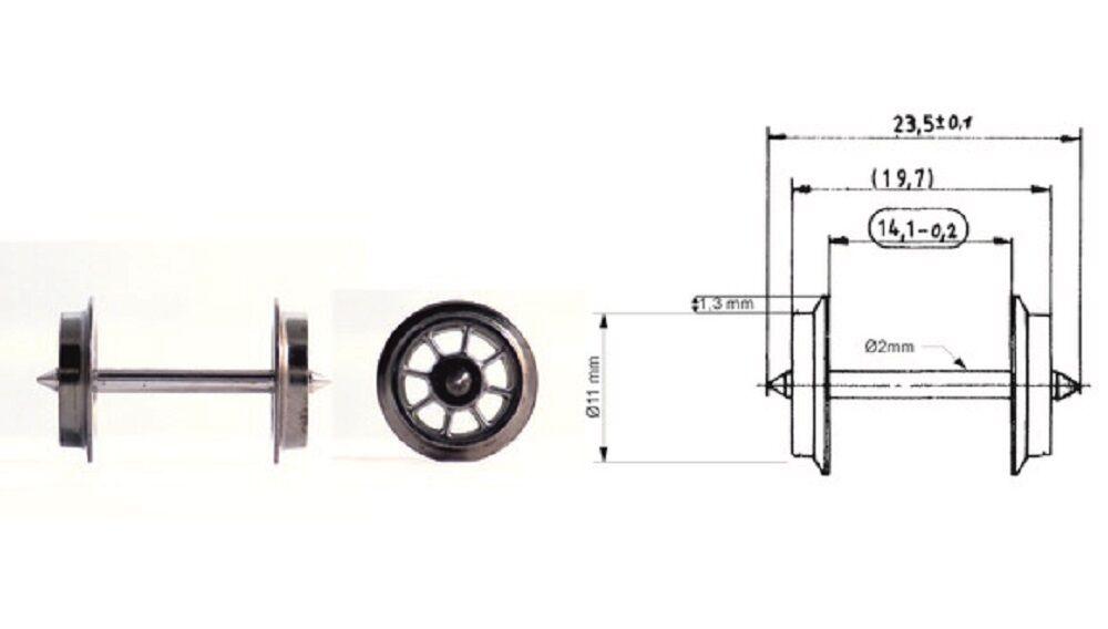 Fleischmann H0 6562-S Ac Jeu de Roues Parle (10-pc) Neuf + Emballage D'Origine