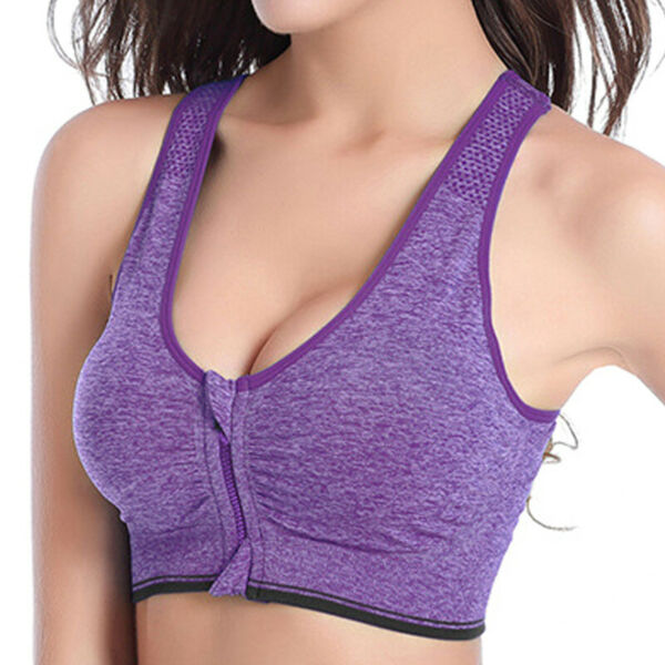 Damen Sport BH Bra Reißverschluss Unterwäsche Fitness Yoga Gym Bustier Crop Tops