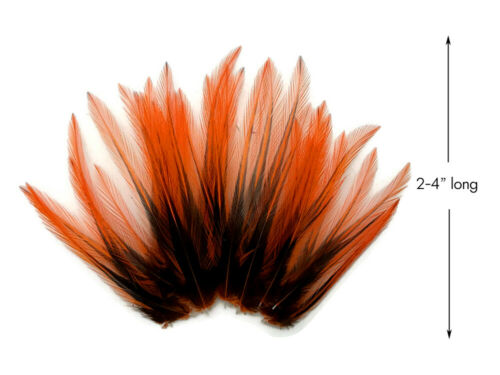 Orange Dyed BLW Laced Short Rooster Cape Whiting Farm Feathers Craft 10 Pieces