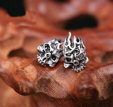 Fashion Men's Steel Silver Cool Gothic Punk Skull Flames Ear Stud Earring Gift