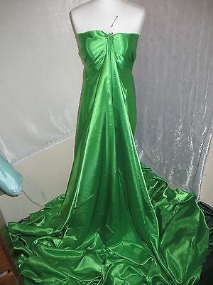 1M BOTTLE  GREEN  BRIDAL SATINFABRIC   58 WIDE