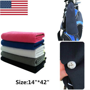 Golf-Towel-Waffle-Black-White-Blue-14-034-x-42-034-Hook-to-Bag-Value-Pack-US-Stock